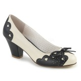 Negro 6,5 cm WIGGLE-17 Pinup zapatos de salón tacón ancho