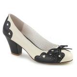 Negro 6,5 cm retro vintage WIGGLE-17 Pinup zapatos de salón tacón ancho