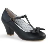 Negro 6,5 cm retro vintage WIGGLE-50 Pinup zapatos de salón tacón ancho