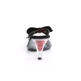 Negro 7,5 cm BELLE-301BOW Pantuflas de tacón con corbata de moño