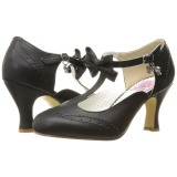 Negro 7,5 cm FLAPPER-11 Pinup zapatos de salón tacón bajo