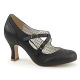 Negro 7,5 cm FLAPPER-35 Pinup zapatos de salón tacón bajo