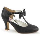 Negro 7,5 cm retro vintage FLAPPER-11 Pinup zapatos de salón tacón bajo