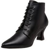 Negro 7 cm VICTORIAN-35 Botines de Cordones Altos Mujer