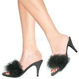 Negro 8 cm AMOUR-03 Tacón plumas de marabu Mules Calzado