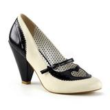 Negro 9,5 cm POPPY-18 Pinup zapatos de salón tacón bajo