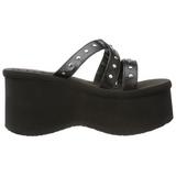 Negro 9 cm FUNN-19 Góticos Chanclas Mujer Plataforma
