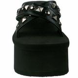 Negro 9 cm FUNN-29 Góticos Chanclas Mujer Plataforma
