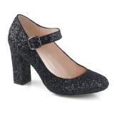 Negro 9 cm SABRINA-07 zapatos de salón tacón ancho