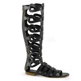 Negro ATHENA-200 gladiador sandalias hasta la rodilla con hebillas