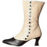 Negro Beige 7 cm VICTORIAN-123 Botines Altos Mujer
