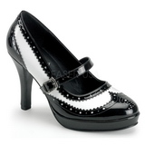 Negro Blanco 10,5 cm CONTESSA-06 Zapatos de tacon altos mujer