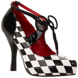 Negro Blanco 10,5 cm HARLEQUIN-03 Zapatos de tacón altos mujer