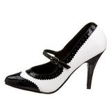 Negro Blanco 10,5 cm VANITY-442 zapatos de salón tacón bajo