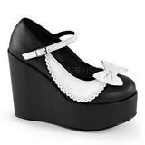 Negro Blanco 13 cm POISON-04 Zapato Salón Cuña Alta