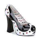 Negro Blanco 13 cm POKER-21 Zapatos de tacon altos mujer