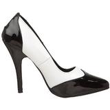 Negro Blanco 13 cm SEDUCE-425 zapatos de salón tacón bajo