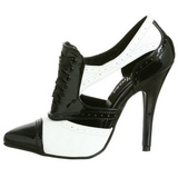 Negro Blanco 13 cm SEDUCE-458 Oxford Zapatos de tacon altos mujer