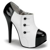 Negro Blanco 14,5 cm Burlesque TEEZE-20 Zapatos de tacón altos mujer