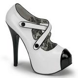 Negro Blanco 14,5 cm Burlesque TEEZE-23 Zapatos de tacón altos mujer