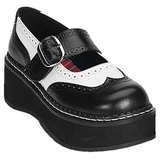 Negro Blanco 5 cm EMILY-302 lolita zapatos mujer góticos suela gruesa