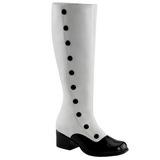 Negro Blanco 5 cm RETRO-306 Botas de tacón de mujer