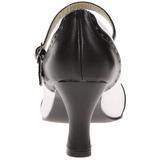 Negro Blanco 7,5 cm FLAPPER-25 Calzado de Salón Planos Tacón