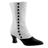 Negro Blanco 7 cm VICTORIAN-123 Botines Altos Mujer