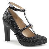 Negro Brillo 10 cm QUEEN-01 zapatos de salón tallas grandes