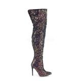 Negro Brillo 13 cm COURTLY-3015 botas altas pleaser