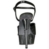 Negro Brillo 15 cm DELIGHT-609-5G Tacones Altos Plataforma