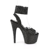 Negro Brillo 18 cm ADORE-791LG tacones altos con correa al tobillo