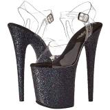 Negro Brillo 20 cm FLAMINGO-808LG Plataforma Zapatos de Tacón Alto