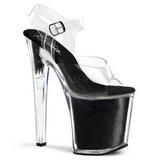 Negro Brillo 20 cm XTREME-808G Tacones Altos Zapatos Plateau