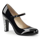 Negro Charol 10 cm QUEEN-02 zapatos de salón tallas grandes