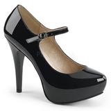 Negro Charol 13,5 cm CHLOE-02 zapatos de salón tallas grandes