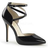 Negro Charol 13 cm AMUSE-25 Zapato Salón de Noche con Tacón