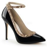 Negro Charol 13 cm AMUSE-28 Zapato Salón Clasico para Mujer