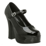 Negro Charol 13 cm DOLLY-50 Mary Jane Plataforma Zapatos de Salón