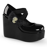 Negro Charol 13 cm POISON-02 Zapatos de cu�a para mujer