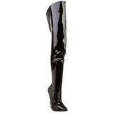 Negro Charol 15,5 cm SCREAM-3010 Largas Botas Altas Del Muslo