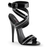 Negro Charol 15 cm DOMINA-119 Sandalias de tacón alto