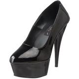 Negro Charol 15 cm Pleaser DELIGHT-685 Plataforma Zapatos de Salón