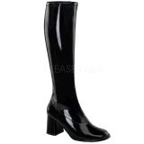 Negro Charol 8,5 cm GOGO-300 Botas de mujer para Hombres