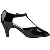Negro Charol 8 cm DIVINE-415W Zapatos de Salón para Hombres