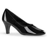 Negro Charol 8 cm DIVINE-420W zapatos de salón tacón bajo