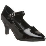 Negro Charol 8 cm DIVINE-440 zapatos de salón tacón bajo