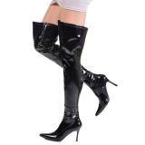 Negro Charol 9,5 cm LUST-3000 over knee botas altas con tacón