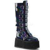 Negro Charol 9 cm DAMNED-318 plataforma botas de mujer con hebillas