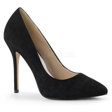 Negro Gamuza 13 cm AMUSE-20 Stiletto Zapatos Tacón de Aguja